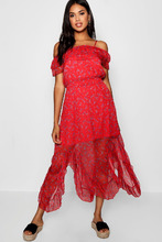 Boohoo | Boutique Floral Cold Shoulder Maxi Dress | Clouty