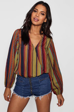 Boohoo | Wrap Front Balloon Sleeve Blouse | Clouty