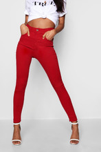 Boohoo | Mid Rise Destroyed Hem Skinny Jeans | Clouty