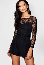 Boohoo | Scalloped Lace Belted Playsuit | Clouty