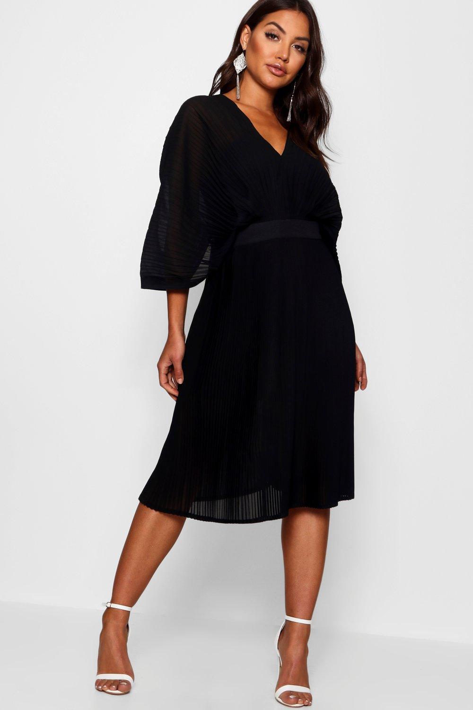 Boohoo | Boutique в складку Миди платье с рукавами «летучая мышь» | Clouty