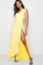 Boohoo | Ruffle and Ruched Detail Maxi Dress | Clouty