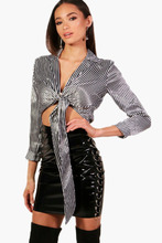 Boohoo | Stripe Tie Front Top | Clouty