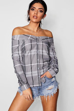 Boohoo   Checked Off The Shoulder Shirt   Clouty