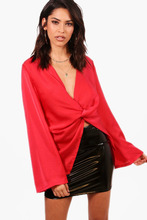 Boohoo | Knot Front Blouse | Clouty
