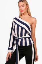 Boohoo | One Shoulder Stripe Tie Top | Clouty