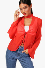 Boohoo | Choker Tie Front Blouse | Clouty