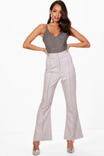 Boohoo | Woven Pintuck Detail Slim Flare Trouser | Clouty