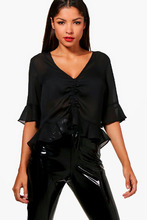Boohoo | Ruched Front Ruffle Hem Blouse | Clouty