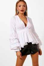 Boohoo | Plunge Ruffle Tiered Blouse | Clouty