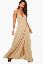 Boohoo | Wrap Ruched Strappy Maxi Dress | Clouty