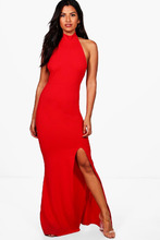 Boohoo   High Neck Extreme Split Front Maxi Dress   Clouty