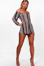 Boohoo | Stripe Off The Shoulder Jersey Playsuit | Clouty