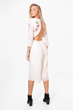 Boohoo | Open Back Embroidered Culotte Jumpsuit | Clouty