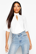 Boohoo | High Neck Cut Out Choker Wrap Front Blouse | Clouty