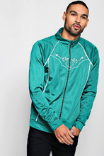 Boohoo | Tricot Piped Embroidered Track Top | Clouty