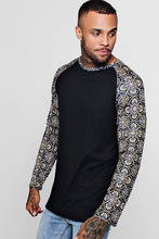Boohoo   Longline Ribbed Raglan Printed Sleeve T-Shirt   Clouty