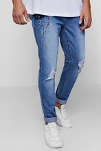 Boohoo   Skinny Fit Jeans With Multi Paint Splatter   Clouty