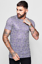 Boohoo | Muscle Fit Purple Baroque T-Shirt | Clouty