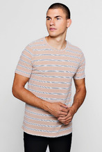 Boohoo   Ribbed Crew Neck T-Shirt With Stripe   Clouty