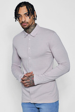Boohoo | Muscle Fit Long Sleeve Jersey Shirt | Clouty