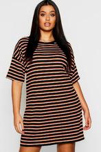 Boohoo | Plus Multi  Stripe Oversized T-Shirt Dress | Clouty