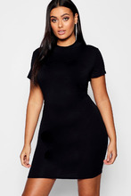 Boohoo   Plus High Neck Short Sleeved Bodycon Dress   Clouty