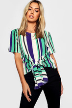 Boohoo | Petite Woven Stripped Tie Front Blouse | Clouty