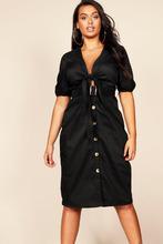 Boohoo | Plus Tie Front Blouson Sleeve Button Midi Dress | Clouty