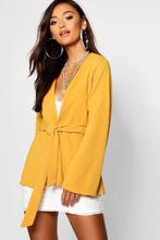 Boohoo | Petite Kimono Sleeve Belted Blazer | Clouty
