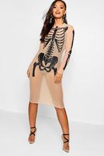 Boohoo | Petite Halloween Skeleton Mesh Midi Dress | Clouty