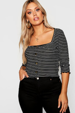 Boohoo | Plus Striped Button Top | Clouty