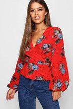 Boohoo | Petite Wrap Floral and Star Print Blouse | Clouty