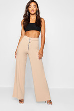 Boohoo | Petite Wide Let Zip Detail Trousers | Clouty