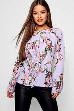 Boohoo | Petite Floral Woven Tie Front Blouse | Clouty