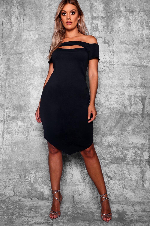 Boohoo | Плюс сайз — Облегающее миди платье с вырезом лодочкой | Clouty