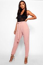 Boohoo | Petite Tie Waist Tapered Trouser | Clouty
