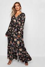 Boohoo | Plus Woven Floral Wrap Maxi Dress | Clouty