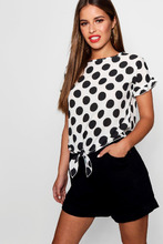 Boohoo | Petite Donna Oversized Spot Knot Front Woven Top | Clouty
