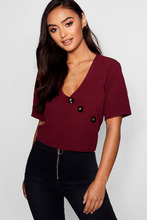 Boohoo | Petite Button Front Short Sleeve Blouse | Clouty