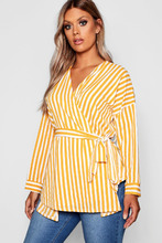 Boohoo | Plus Stripe Wrap Top | Clouty