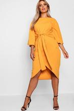 Boohoo | Plus Kimono Sleeve Wrap Over Midi Dress | Clouty