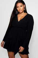 Boohoo | Plus Wide Sleeve Knot Front Skater Dress | Clouty