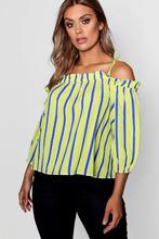 Boohoo | Plus Woven Tie Shoulder Stripe Top | Clouty