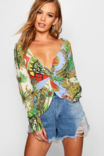 Boohoo | Petite Twist Front Printed Blouse | Clouty