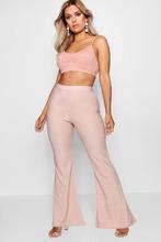 Boohoo | Plus Textured Flared High Waist Trouser | Clouty