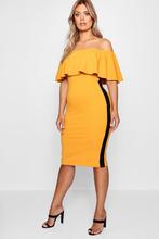 Boohoo | Plus Ruffle Sports Stripe Midi Dress | Clouty