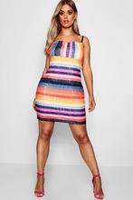 Boohoo | Plus Rainbow Sequin Neck Dress | Clouty