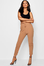Boohoo | Petite Drawstring Tie Waist Tailored Trouser | Clouty