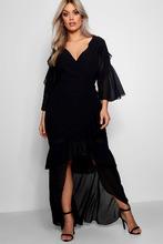 Boohoo | Plus Chiffon Ruffle Maxi Dress | Clouty